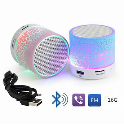 LED Light Mini Bluetooth Speakers Wireless Bass Speaker With TF USB FM