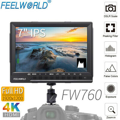 "FEELWORLD FW760 HD 1920x1200 7"" 160°Wide Angle Video Camera Monitor&Sunshade S1"