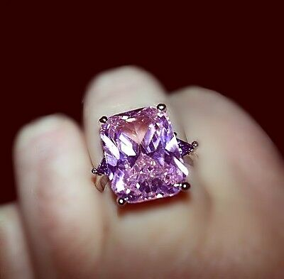 CREATED PINK SAPPHIRE GEMSTONE 925 SOLID STERLING SILVER RING - Size P (US 8 )