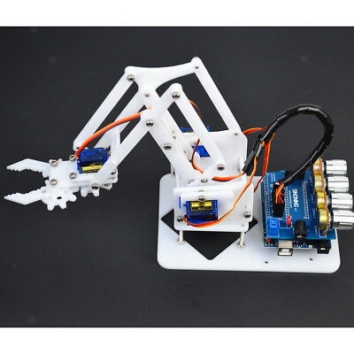 Prettyia DIY 4-Dof Plastic Gear Robot Arm 4 Servos Circuit Kits for Arduino