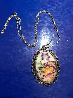 Vintage /antique Silver Large Pendant And Chain With Hand Painted Floral Design