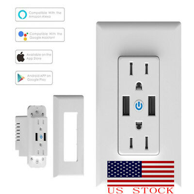 Smart Socket Dual USB Outlet Wall Switch Plug Fast Charging for US-Plug Socket