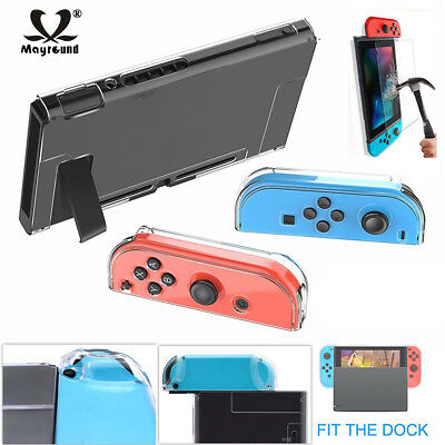 For Nintendo Switch Transparent Clear Hard Protection Case Cover+Tempered Glass