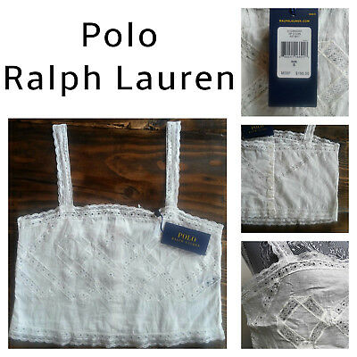 NEW! Ralph Lauren Women Shirt Lace Crochet Cami Crop Antique White Cotton S & L