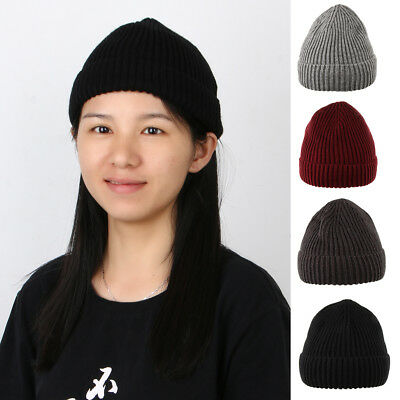 Ribbed Knitted Beanie Hat Men's Women's Winter Warm Skiing Cap Cuff Brimless