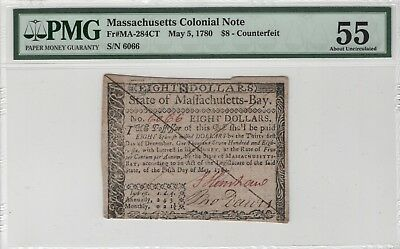 Massachusetts Colonial Note $8 Counterfeit FR#MA-284CT May 5th 1780 PMG AU55