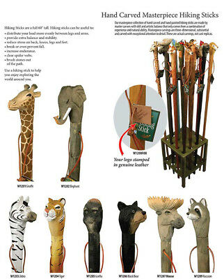 Hand Carved Masterpiece Hiking Sticks Assorted Animals NEW FREE SHIPPING 435d92dbff