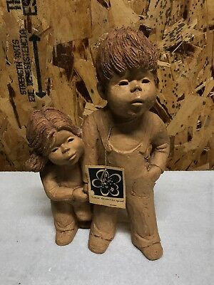 Charming Vintage Statue Lee Bortin Originals Chicago Brother And Sister