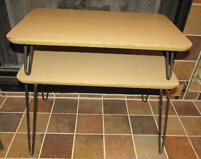 Nice Mid-Century Modern 1950's Blonde Formica 2 Tier End Table With Hairpin Legs