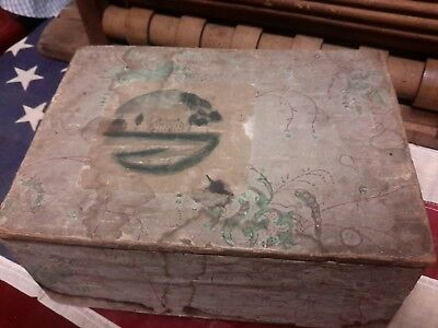 """Antique Wallpaper Box Painting Lined Rhode Island Store Advert 1832 9""""x4 1/2"""""""
