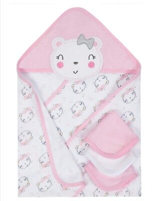 Gerber Baby Girls Hooded Towel Washcloths 4 Piece Bath Set Cotton Terry