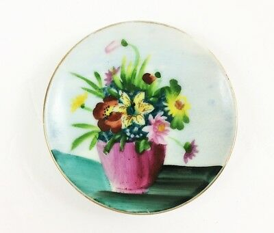 """""""Oftriart"""" hand-painted plate 4 inch miniature art floral flower bouquet France"""