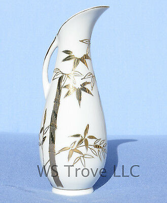 """Asian Bud Vase Handled Pitcher Bamboo Design Made in Japan 7"""" Tall Gold Gilt"""