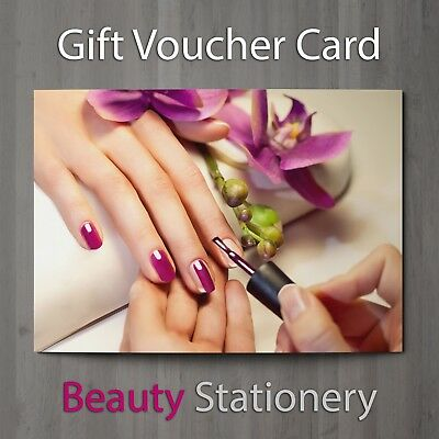 Gift Voucher Beauty Nail Salon Blank Card Manicure Pedicure Present A7 + Env.