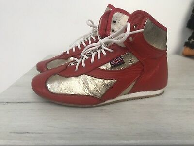 Custom Made Used Boxing Boots In Red And Gold 1.5 Uk Kids