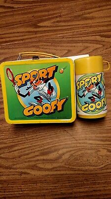 Vintage 1983 Sports Goofy Metal Lunch Box And Thermos Very Nice Rare