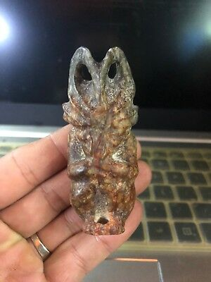 Ancient Chinese Hongshan Culture old Jade Apollo Amulet Pendant Carving 22