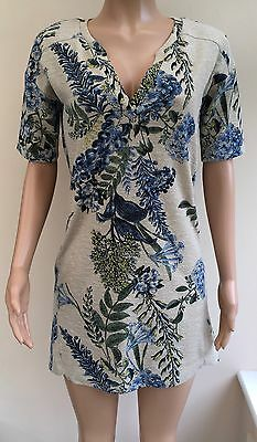 Next Beige Blue Floral Tunic Dress Size 10  #R3