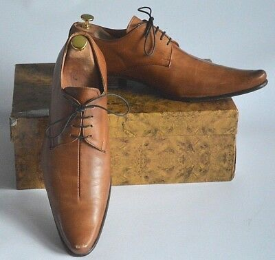 0e3bf95fc6273 Gucinari 856 Pointed Toe Tan Brown Leather Derby Shoes In Box- Uk 11 Eu 45