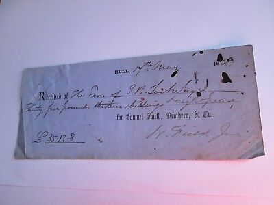 Receipt Samuel Smith, Brothers & Co, Hull 1858