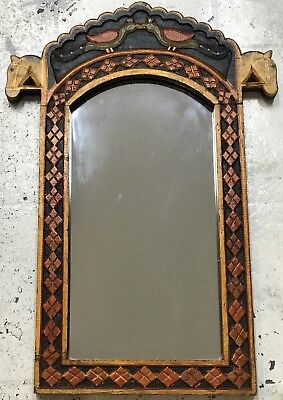 Indian Folk Art Hand Carved & Painted Mirror With Horses Heads - 20th Century