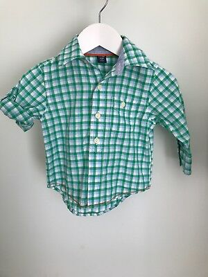 Baby Gap Boys Green Checked shirt Age 6-12 Months