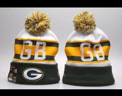 Green Bay Packers Beanie Cap Hat Nfl Football New Era Cuffed Knit On Field