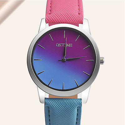 Fashion Women Rainbow Design Leather Band Analog Quartz Luxury Sport Wrist Watch