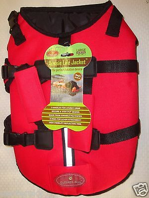 """New Aussie Life Outback Jack Dog Life Jacket Red Girth 28-36"""" 40-60 lb Large"""
