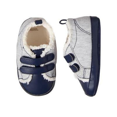 NWT Gymboree Forest Fox Baby Boys Blue Gray Sherpa Crib Shoes 2 3 4