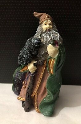 Wizard Fantasy Figurine Holding Crystal Ball  And Bird