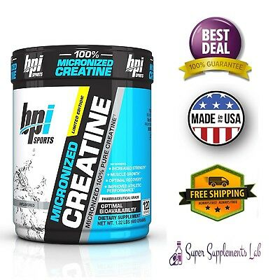 BPI Sport Micronized Creatine Powder Pure 600g 120 Serving Grow Muscle Strength