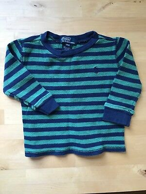 Preloved Polo By Ralph Lauren 18 Mo Striped Blue Green Long Sleeve Waffle Shirt