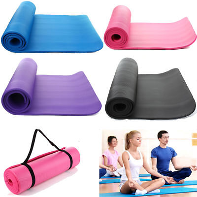USA 10mm Thick Yoga Mat Pad Nonslip Exercise Fitness Carry Strap Durable Pilates