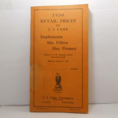 1930 J. I. Case Retail Prices Implements Silo Fillers & Hay Presses