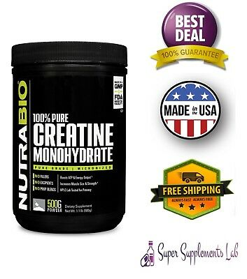 NutraBio Micronized Creatine Monohydrate Powder 500g 100 Serving Muscle Strength