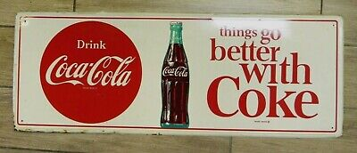 """Vintage 1960s Drink Coca-Cola THINGS GO BETTER WITH COKE 31.5""""x11.75"""" Metal Sign"""