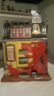 Vintage 5 cent Gooseneck Bell Lion Head Slot Machine 1930's