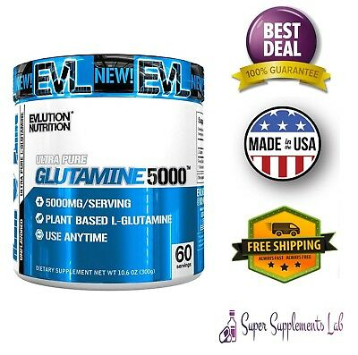 Evlution Pure Glutamine Powder 500 mg 60 Servings Muscle Endurance & Recovery