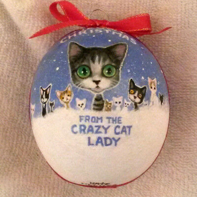 Crazy Cat Lady Meowy Christmas Ornament Kitten HandPainted Gourd Original Gift
