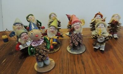 Lot of 10 Vintage Christmas  Pine Cone Elves Pixies Ornaments Hand Painted
