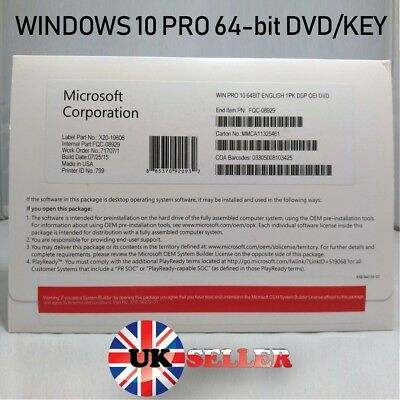 Original Genuine Windows 10 Pro Professional DVD With Product Licence Key 64bit