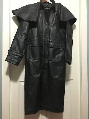 Mens Leather Western Duster Motorcycle Coat Size Large Black