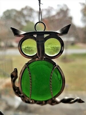 Vintage Handcrafted Stained Glass green Owl On Branch Window hanging Suncatcher