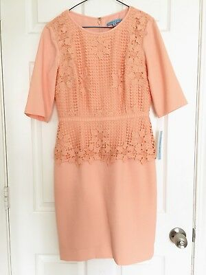 $128 Antonio Melani Yvonne Coral Lace Overlay 3/4 Sleeve Midi Sheath Dress Sz 4