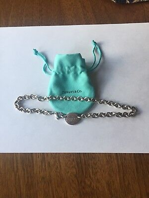 Tiffany & Co New York Sterling Silver 925 Return To Oval Tag Necklace W/ Pouch