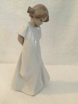 Lladro young girl in nightgown porcelain handmade