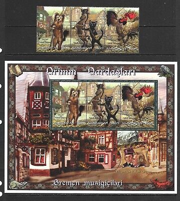 "1997 Azerbaijan 2 miniature sheets and 3 stamps ""The Town of Band of Bremen"" UMM"