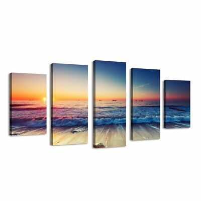 Canvas Giclee Printing Modern Wall Art Large 5 Panels Waves Seascape Framed Deco