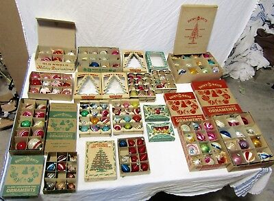 HUGE LOT 15 BOXES Vintage Christmas Ornaments Glass Indent Shiny Brite